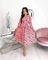 Женское нежное удлиненное платье в цветочный принт из софта (Норма), фото 6