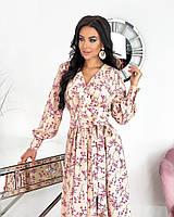 Женское нежное удлиненное платье в цветочный принт из софта (Норма), фото 7