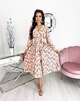 Женское нежное удлиненное платье в цветочный принт из софта (Норма), фото 8