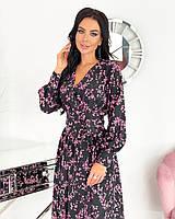 Женское нежное удлиненное платье в цветочный принт из софта (Норма), фото 9
