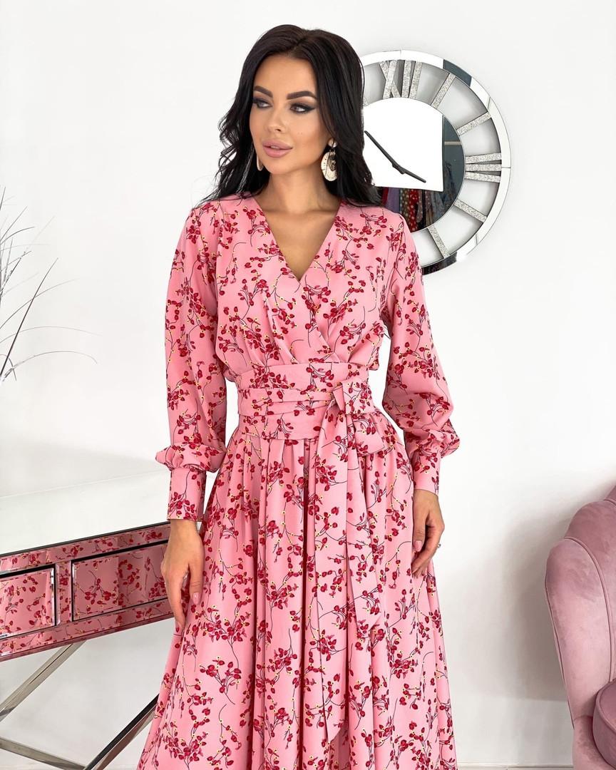 Женское нежное удлиненное платье в цветочный принт из софта (Норма)