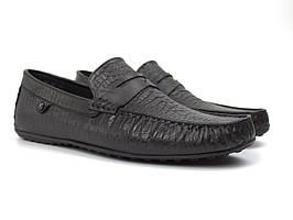 Кожаные черные мокасины тиснение рептилия мужская обувь стильная Rosso Avangard ETHEREAL Black Ript