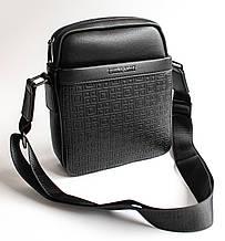 Чоловіча еко-шкіряна сумка-месенджер чорна