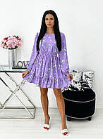 Красивое весеннее платье лавандовое с цветочным принтом 42-44 46-48