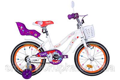 """Велосипед 16"""" Formula FLOWER PREMIUM 2021 (біло-помаранчевий c фіолетов)"""