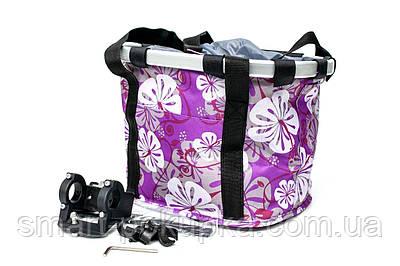 Велосумка -кошик на кермо 30x25x25cm фіолетова з білими квітами BRAVVOS CK-082