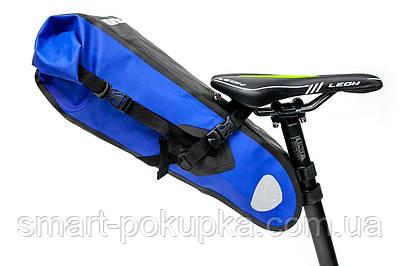 """Велосумка """"байкпакинг"""" під сідло 62x14x14cm чорно-синій BRAVVOS A2-402 водоотталк. матеріал"""