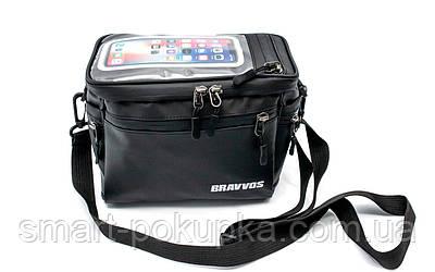 Велосумка на кермо, з відділенням під смартфон чорний BRAVVOS CB-065