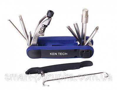 Мультитул KEN TECH KL-9804C черно-синий 15 функций: шестигранники, отвёртки, выжимка цепи