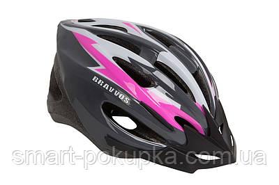 Шлем велосипедный HEL128 черно-бело-розовый (черно-бело-розовый)
