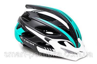 Шлем велосипедный с белым козырьком CIGNA WT-016 черно-бело-бирюзовый