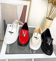 4 цвета! Стильные женские туфли лоферы кожаные