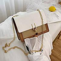 Женская сумочка кросс-боди белая с бежевым