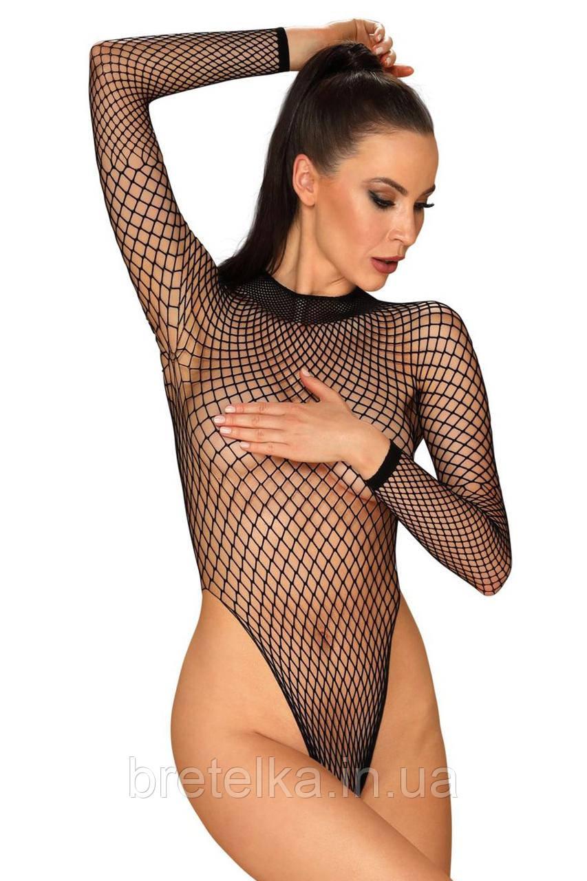Боди женское сетка с вырезом на спине Obsessive B125