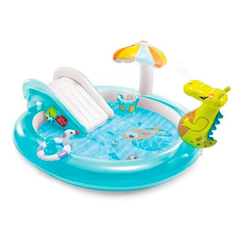 Игровой надувной центр с горкой Intex Крокодил