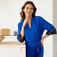 Летний короткий шелковый женский халат с французским кружевом, синий