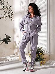 Жіночий костюм з сорочкою з льону батал