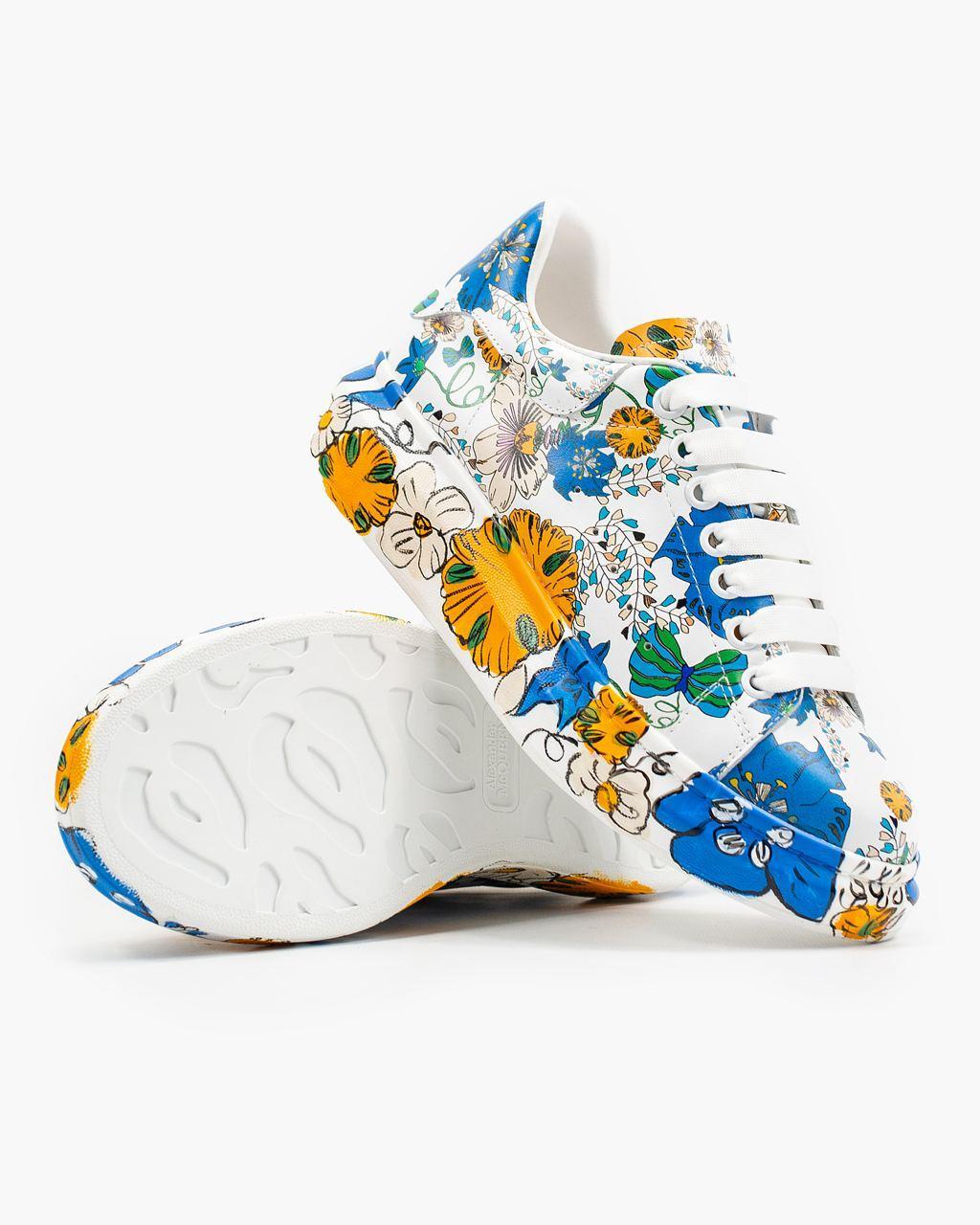 💕 Кросівки, кеди жіночі Alexander McQueen білі різнокольорові розмальовані александер макквін кастомні