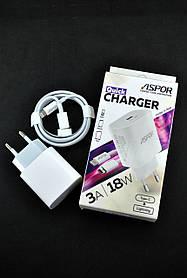 Зарядное устройство Aspor A846 PD 18W/3A + кабель Type-C/Lightning (orig 100%) White