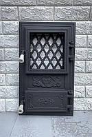 """Дверца для печи и барбекю """"Цветок квадрат"""", печная дверца со стеклом"""