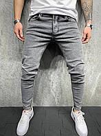 Серые мужские джинсы в обтяжку, модные джинсовые штаны зауженные Турция