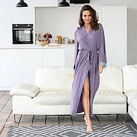 Модный длинный шелковый кружевной халат женский. Цвет: светло-фиолетовый