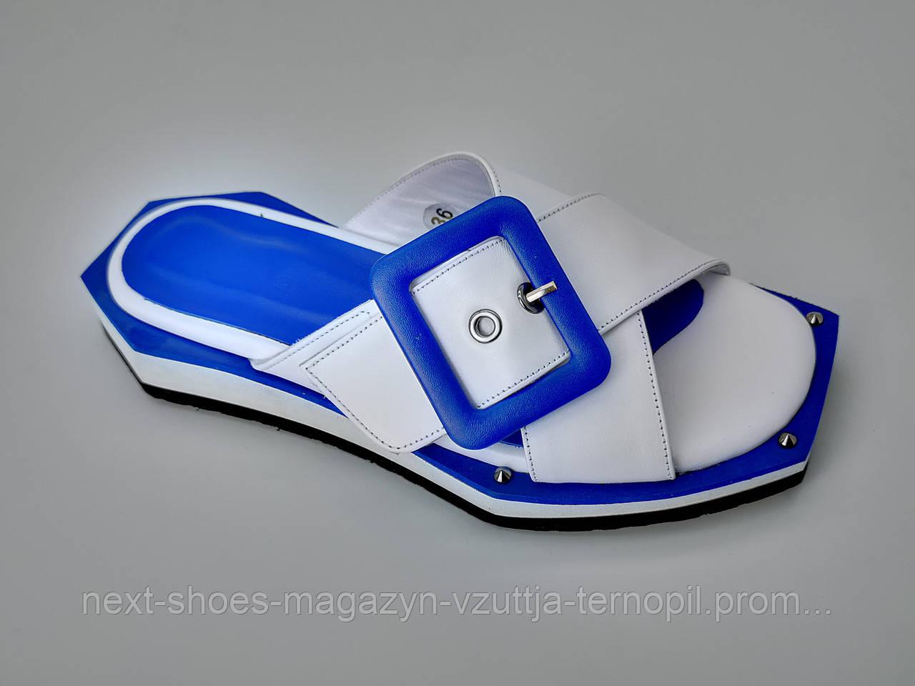 Шлепанцы женские синие  Турция летние арт 1007-26 модель 4983