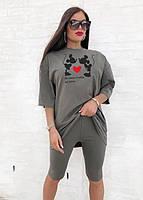Стильний жіночий костюм з футболкою і велосипедками (Норма), фото 3
