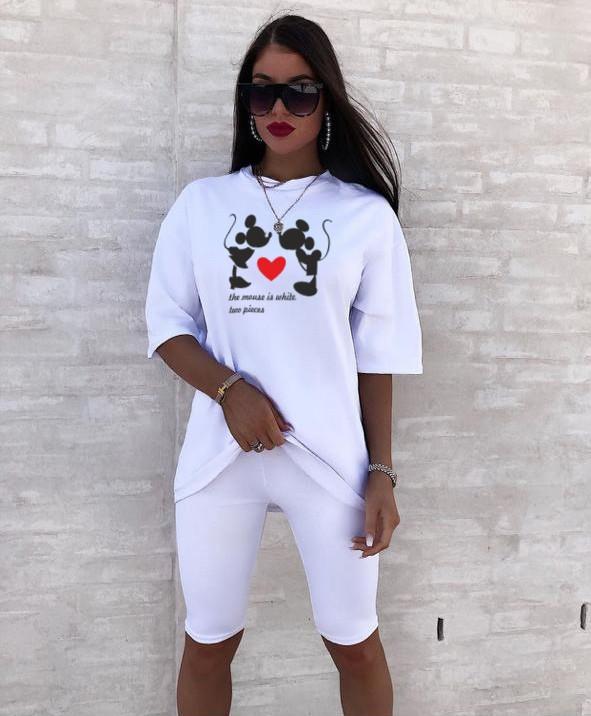 Стильний жіночий костюм з футболкою і велосипедками (Норма)