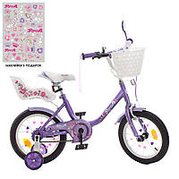 Велосипед детский PROF1 14д Y1483-1K (1шт) Ballerina,SKD75,сирен,звонок,фонарь,корз,сид кукл,доп.кол