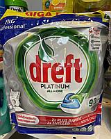 Капсули для миття посуду в посудомийній машині Dreft Platinum All in ONE Megapack 90 капсул