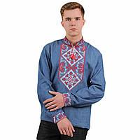 Чоловіча вишиванка  джинсова з вишивкою хрестиком Говерла