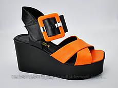 Сабо женские черные с оранжевым верхом Magza Турция летние арт SC-288-741-35 модель 4984