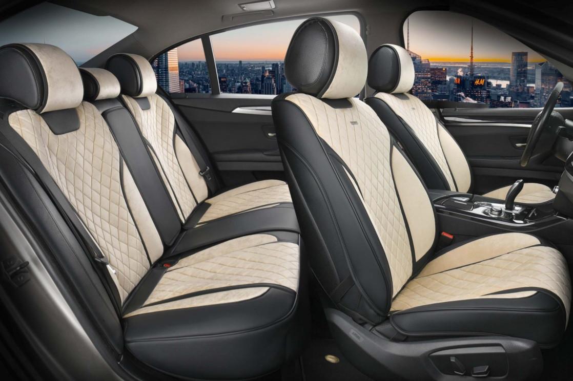 Чохли 3D з алькантари Elegant Torino на передні та задні сидіння автомобіля EL 700 124 бежеві