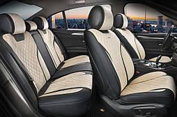 Чехлы 3D с алькантары Elegant Torino на передние и задние сидения автомобиля EL 700 124 бежевые