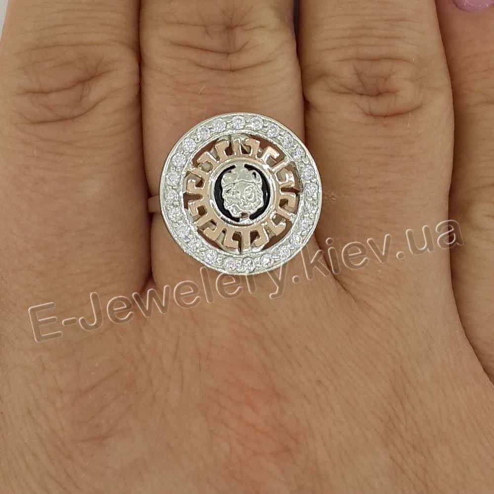 """Серебряное кольцо с золотом """"Versace"""""""