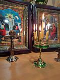 Малый подсвечник на 7 свечей золотой, высота 15см (Греция), фото 4