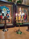 Підсвічник малий на 7 свічок золотий із зеленою облямівкою, висота 15см (Греція), фото 5