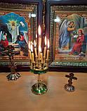 Підсвічник малий на 7 свічок золотий із зеленою облямівкою, висота 15см (Греція), фото 6