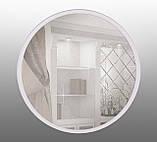 Кругле дзеркало на основі ДСП 600мм біле, фото 3
