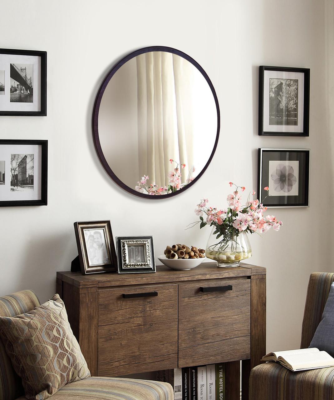 Зеркало круглое 600 мм венге Черный
