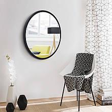 Кругле дзеркало на основі ДСП 600мм біле Чорний