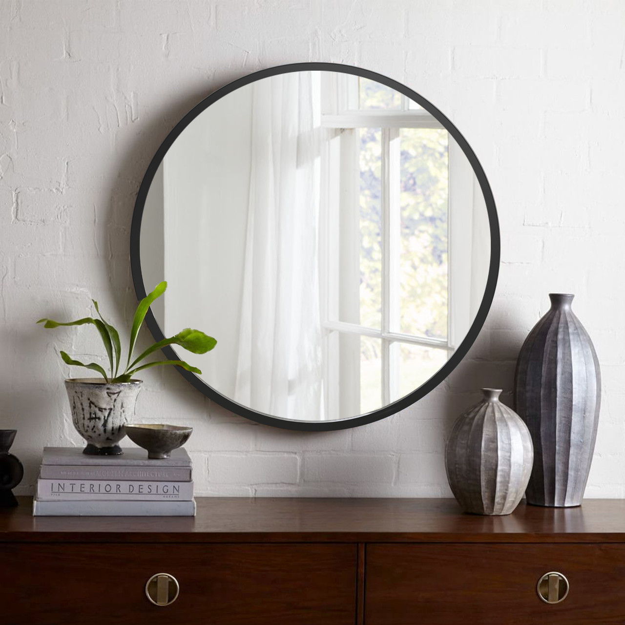 Кругле дзеркало в чорному кольорі 1000 мм