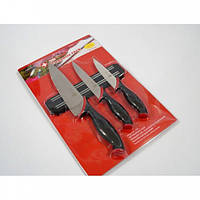 Набір металевих ножів Swiss Zurich SZ-13102 + магнітна рейка-тримачУниверсальные 3 шт.  Черные
