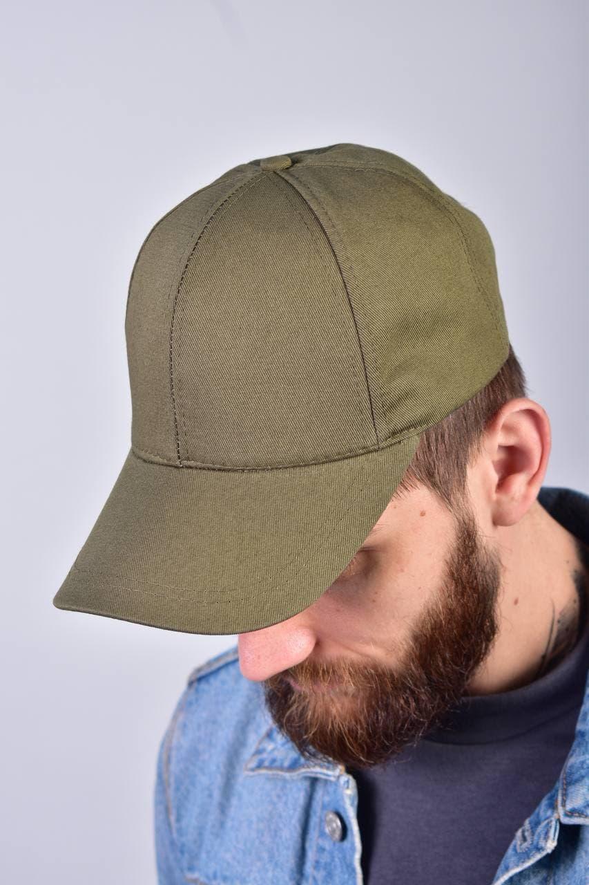 Мужская кепка бейсболка однотонная одноцветная базовая цвета хаки