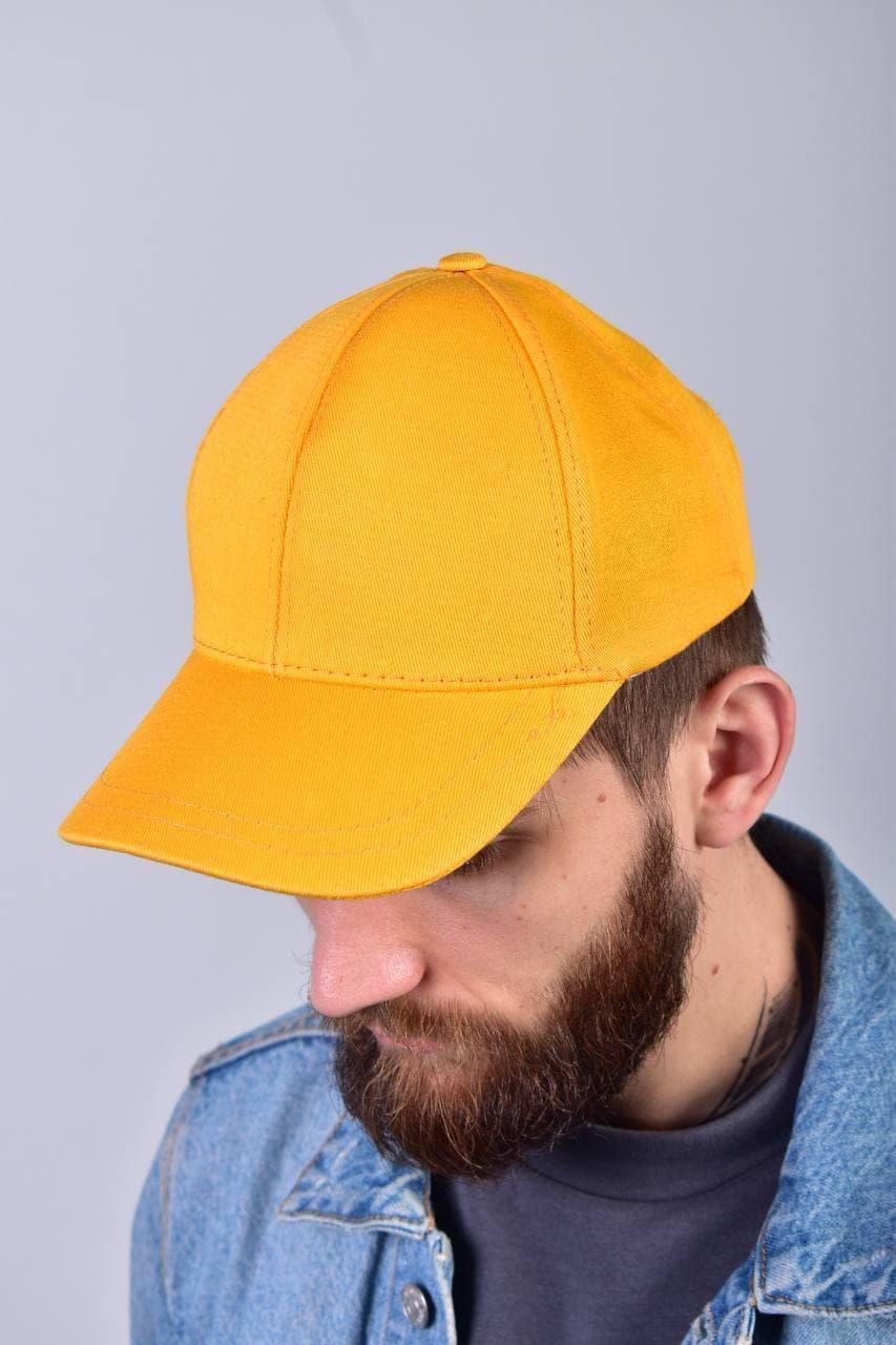 Мужская кепка бейсболка однотонная одноцветная базовая желтая