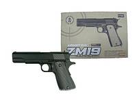 Пістолет великий металевий на пульках (6мм) чорний дитячий, ZM19 копія 1:1 кольт 1911-A1