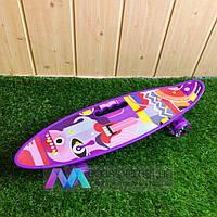 Скейтборд пенни борд со светящимися колесами с рисунком пенни борд с ручкой пенні борд пенниборд пениборд фиол