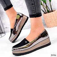 Туфлі жіночі Tren чорні + бронза 3446