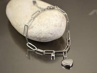 Браслет Сердце крупная цепь 17,5см, сталь